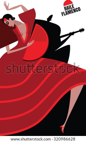 Flamenco performance, dancing woman and man playing on the guitar | raster version - stock photo