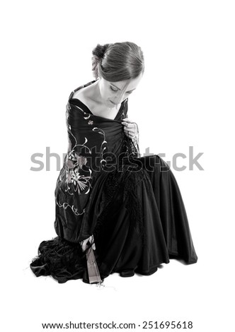 Flamenco woman over white background