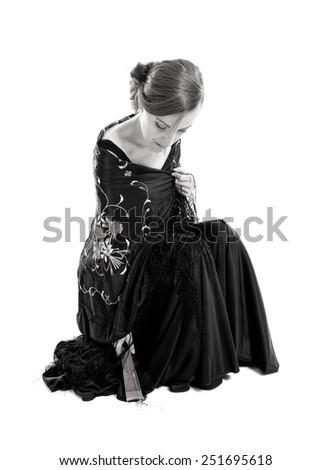 Flamenco woman over white background - stock photo