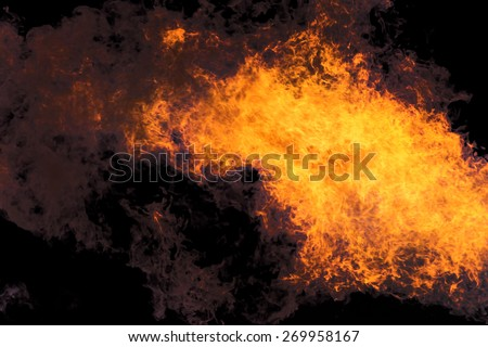 Flames against the black background