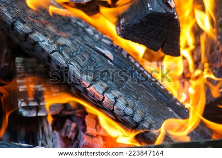 Flames and smoke from burning wood - stock photo