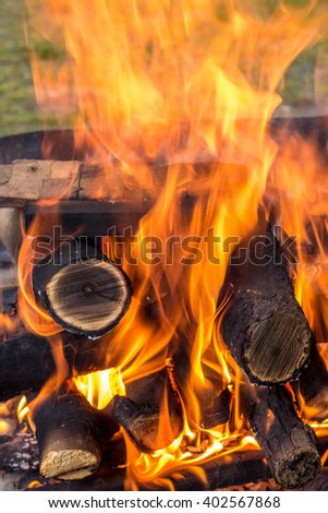 Flames coming out of the burning wood