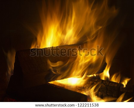 Flames dance in fireplace