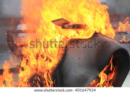 Flames in a fire drill, background for safety and security for your work
