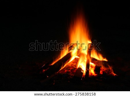 Flames of a campfire with black background - stock photo
