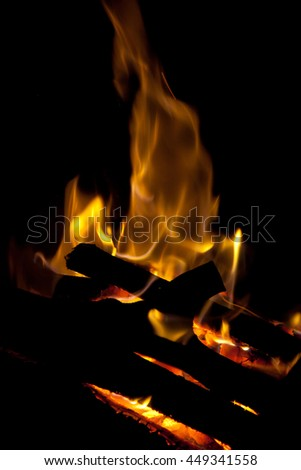 Flames of fire in the fireplace (as an abstract background) - stock photo