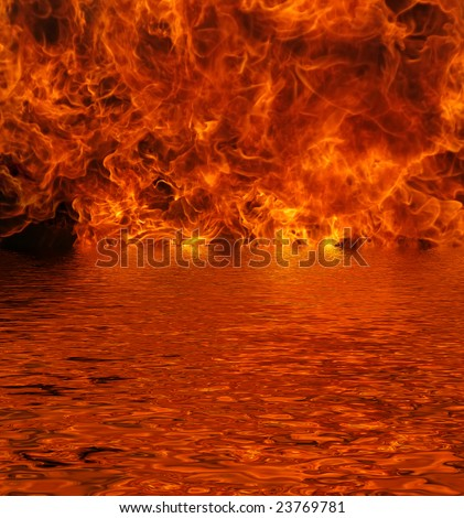 Flames pouring out of a lake with reflection