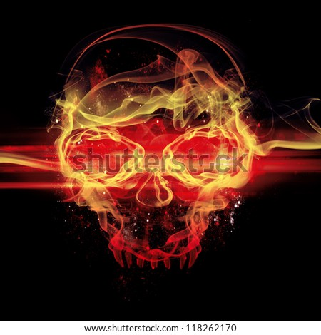 flames skull on black background - stock photo