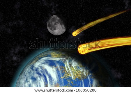 Flaming Asteroids on Earth, Apocalypse - stock photo