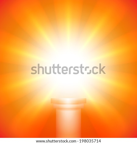 Flaming background: Lights over a pedestal for your business product - stock photo