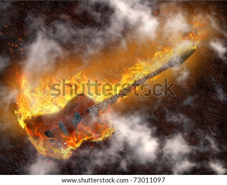 Flaming Bass Guitar against rusted metal background - stock photo