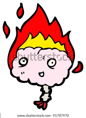 flaming brain cartoon (raster version) - stock photo