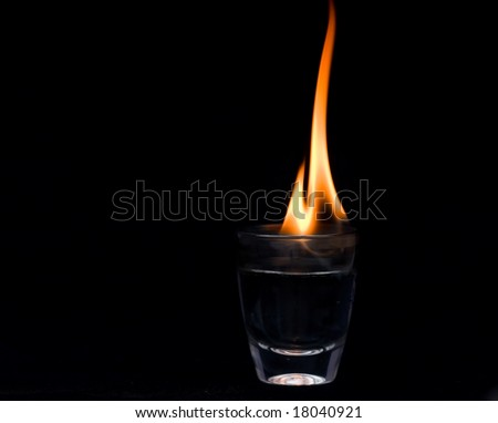 Flaming drink - stock photo