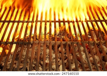 Flaming Empty Barbecue Grill Background - stock photo