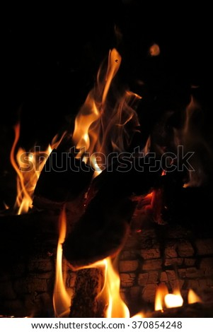 Flaming firewood in the night fire