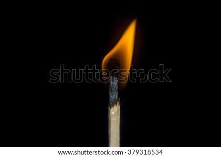 Flaming Match - stock photo