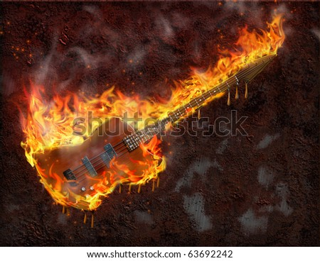 Flaming melting guitar and rusted metal surface