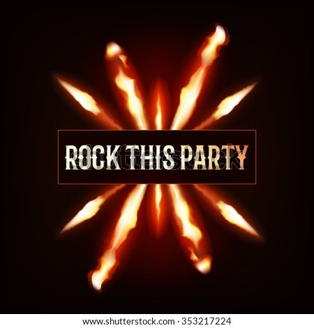 Flaming rock this party flyer dark background - stock photo