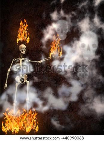 flaming skeleton with smoke skulls 3D Render - stock photo