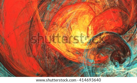 Flaming sun. Abstract painting texture in summer color. Modern futuristic red pattern. Bright color dynamic background. Fractal artwork for creative graphic design - stock photo