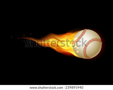 Flaming Tennis Ball. Illustration on black background for design - stock photo