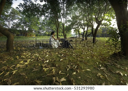 Flamingo Dai Lai, Vinh Phuc province, Vietnam - October 13, 2016: woman sitting reading relaxing on the lawn full of yellow leaves falling off into the sunset