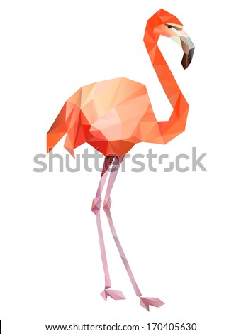 flamingo geometric (illustration of a many triangles)