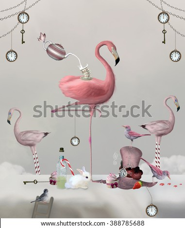 Flamingo on a table with clocks, keys and sweetness