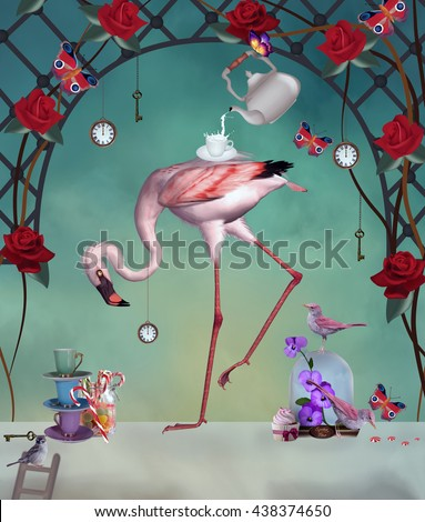 Flamingo wonderland party - 3D and digital painted illustration