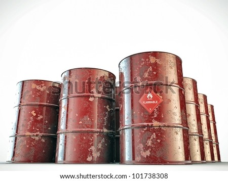 flammable barrels isolated on white background