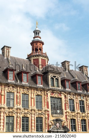 Flanders style windows and tower in Lille, France