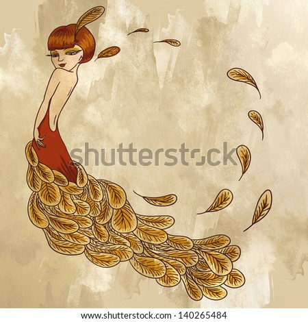 Flapper Girl in a dress of feathers Retro  background - stock photo