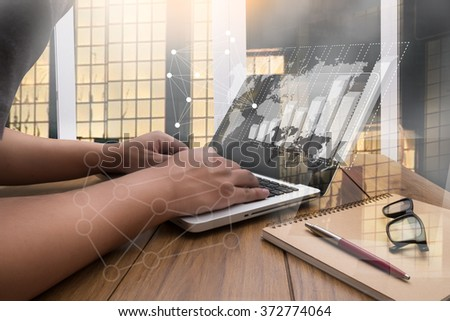 flare light, Double exposure of business man hand working on blank screen laptop computer on wooden desk as concept with social media diagram - stock photo