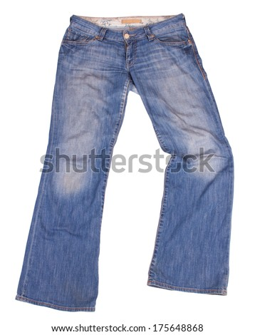 Flared blue jeans isolated on white background. Clipping paths included.