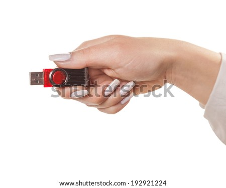 flash card hand, isolated white background
