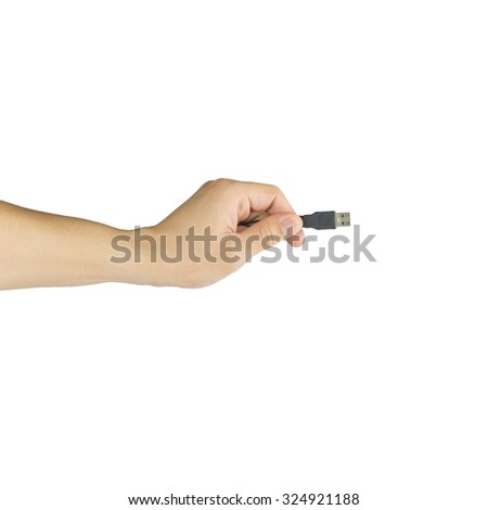 Flash drive in man hand isolated on white background
