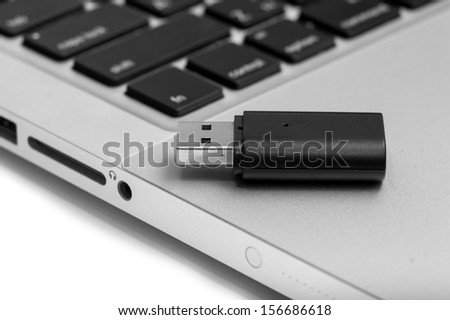 flash-drive with a laptop