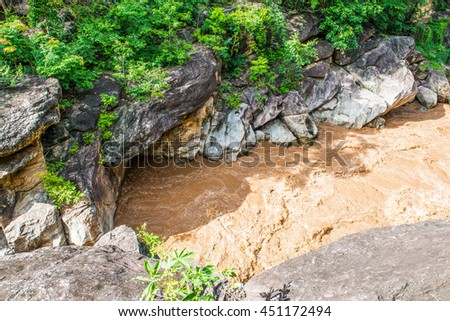 Flash flood flowing in Ob Luang national park, Thailand.