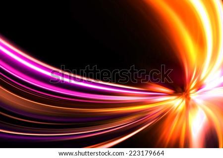 flash speed motion on night road - stock photo