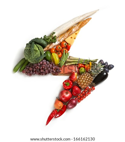 Flash symbol / studio photography of flash made from different fruits and vegetables - on white background  - stock photo