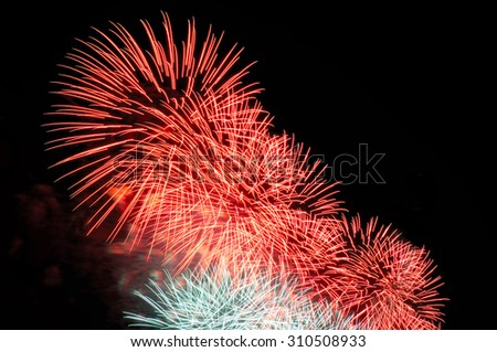 Flashes of pink and white holiday firework against the black sky