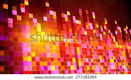 flashing squares equalizer. Computer generated party background - stock photo