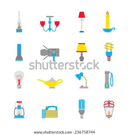 Flashlight and lamps illumination equipment icons flat set isolated  illustration - stock photo