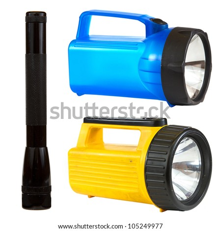Flashlight collage isolated on white background depicting a black, blue and yellow flashlight.