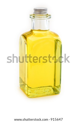 Flask of yellow oil on white background