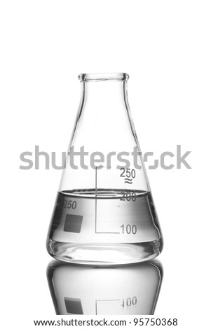 Flask with water and reflection isolated on white - stock photo