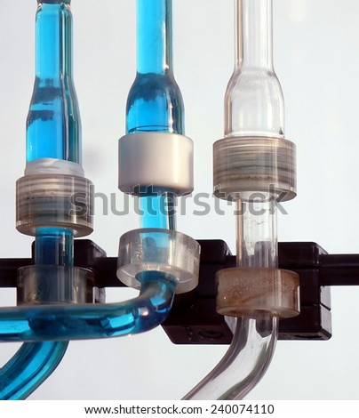 Flasks and tubes made from glass, as part of a chemical laboratory - stock photo