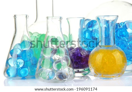 Flasks with hydrogel isolated on white - stock photo