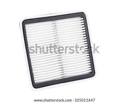 Flat air filter of the engine of the car on a white background