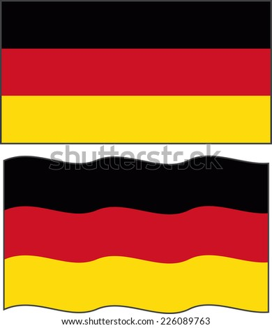 Flat and waving Germany Flag. Raster version